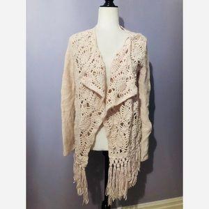 Anthro Odd Molly NWT open knit fringe cardigan